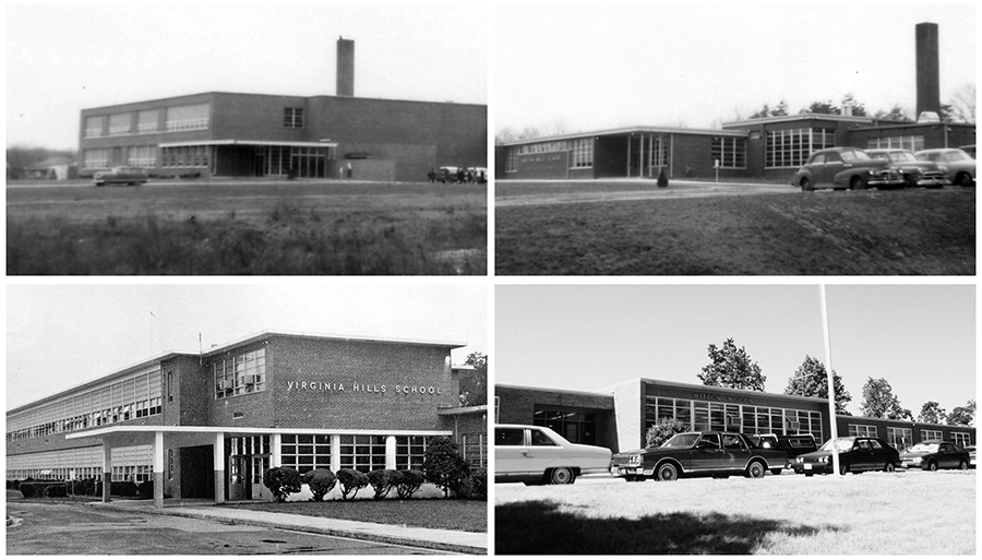 Black and white photographs of the four closed schools. Three of these schools were built in the 1950s and the fourth in the early 1960s. Hollin Hall and Virginia Hills are two-stories tall and the buildings look very similar in design. Hollin Hills and Wilton Woods are single story buildings, but Wilton Woods is a much smaller school by comparison. The front of each building, and its main entrance, are pictured in each photograph.
