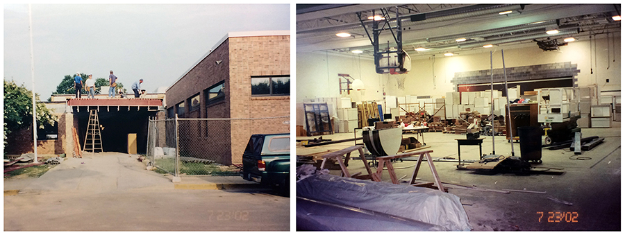 Composite image of two color photographs taken on July 23, 2002 showing the renovation to Fort Hunt Elementary School. On the left, construction workers are building an awning over the main entrance. On the right is a photograph of the interior of the gymnasium. It is being used as a staging area and is full of construction equipment and new furniture.